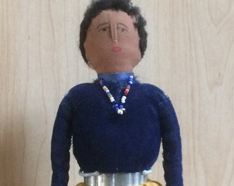 Vintage Navajo Doll - Tagged Kimcraft American Indian Cloth Doll - Needle Sculpted Nose - Kimport Vintage Doll - Circa 1940s