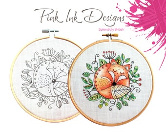 Fox embroidery pattern. Paint or stitch.
