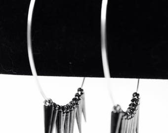 Gunmetal Spike Glee Large Hoop Earrings