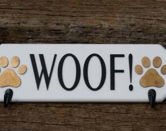 Wall hanging leash holder, dog decor, dog sign, leash hanger, dog leash