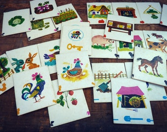 Dominoes vintage - game for small - game of association of ideas - the farm theme.
