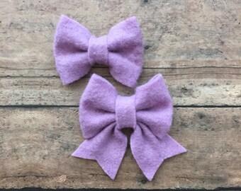 Lilac Felt Bow on Metal Clip, Hair Tie, or Elastic Headband; Buy 3 Get 1 Free! Small Felt Hair Bow, Lilac Hair Bow, Felt Headband
