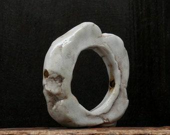 Stoneware Ring Disc Pendant White Handmade Pottery