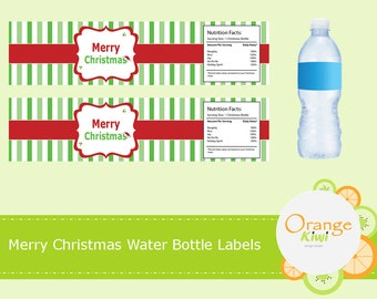 Merry Christmas Waterproof Party Favor Labels, Christmas Water Bottle Labels, Christmas Stickers, Holiday Party Decor, Water Bottle Stickers