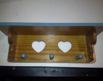 home decor small wall hanging wooden shelve with heart design