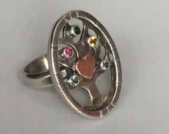 Family Tree Ring, Mothers Ring, Sterling Silver Ring, Multistone Ring