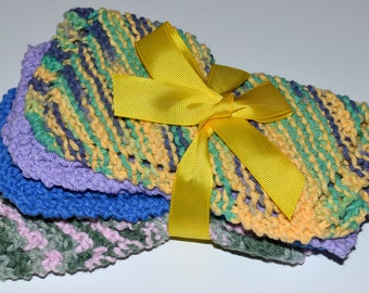SALE! DISH CLOTHS - Dishcloths!  Four For 6.00 - A Great Price!  Knit -  7 by 7.5 Inches - Coordinated Colors - Gift Bow