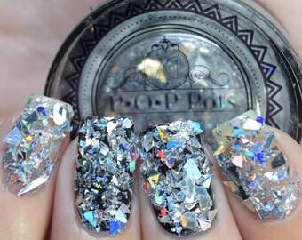 POP Pots Broken Glass Holo (Silver) Glitter Nail Decals Accessories Stamp Rhinestones