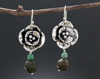 Sterling Silver and Turquoise Earrings - Dogwood Flower Earrings - Turquoise Drop Earrings - Turquoise Jewelry - Natural - Sherry Tinsman