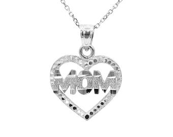 10k White Gold Heart Mom Necklace