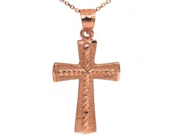 14k Rose Gold Cross Necklace Pendant