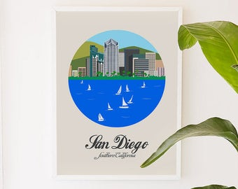 San Diego, California, city art, city, illustration, digital, art print