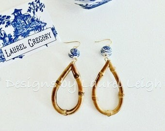 Bamboo Earrings | Chinoiserie, blue and white, oval, hoops, gold, dangle, statement earrings