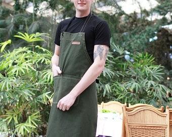 BBQ CHEF Green Canvas Apron| #1 BBQ Apron| Grill Apron | Barista Apron | Men Grilling Apron | Womens Apron | Mens Apron - U3009