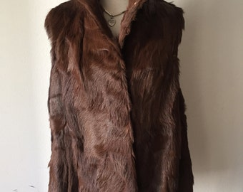 Handmade Long Vintage Brown Genuine Goat Soft Fur Warm Vest Big Collar Women's Festive Look Size Large.
