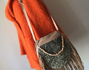 Bright beige handmade women's bag, suede with fashionable suede fringe, bag decorated with colored beads & astrakhan fur, new, size-small.