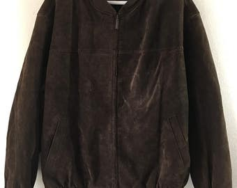 Nice brown suede leather men's bomber jacket  size extra large .