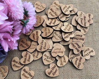 Wooden Confetti Hearts Best Day Ever Wedding Crafts Embellishments DIY