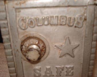 vintage cast metal toy safe