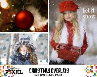 CHRISTMAS PHOTOSHOP OVERLAYS, Christmas, Wordart, Clipart, Bokeh, Snow, Sparklers, Ornaments, Santa, Photoshop Overlays, Photoshop Overlay