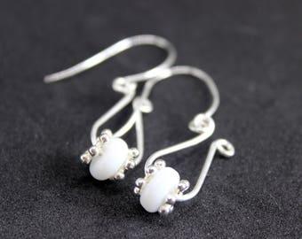Silver beaded earrings, Beaded drop earrings, beaded dangle earrings, Silver earrings, Bridal jewellery, white bead earrings