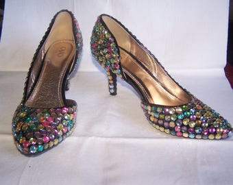 Rainbow Rhinestone heels, Size 8