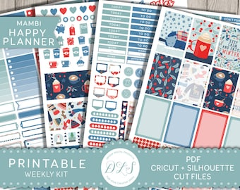 Winter Planner Stickers, January Stickers, Weekly Stickers Kit, Mambi Happy Planner, Printable Stickers, Cut File Stickers, Red Blue, HP113