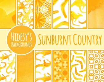 """Australian Watercolor Digital Paper / Background / Pattern """"Sunburnt Country"""" Orange and Yellow Bright Hand Painted"""