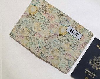 Retro Stamps- Personalized Passport Cover/Holder - Travel Passport Cover - High Quality Handmade Leather | TTG-PPC-012