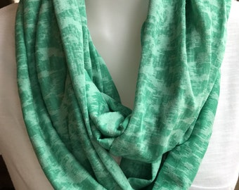 Green burnout infinity scarf!  St. Patrick's Day.  Soft green jersey knit scarf!  Great gift.