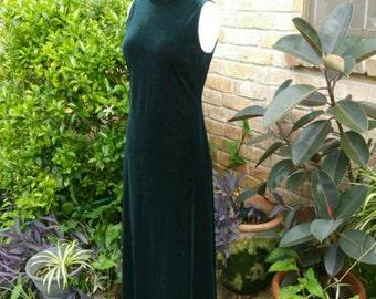 VINTAGE Hunter Green Velveteen Formal Maxi Dress