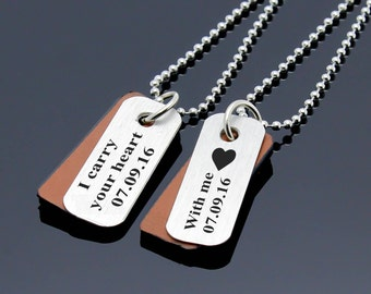 Custom Matching Necklace, Personalized Couples Necklace, Heart Necklace, Men Women Necklace, Couples Jewelry, Couple Gift, His Hers Necklace