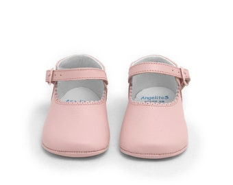 Baby moccs pink Leather Mary Janes Baby shoes,Infant Booties