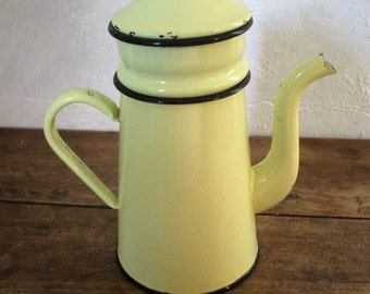 """Yellow"" 50s/60s enameled pot"