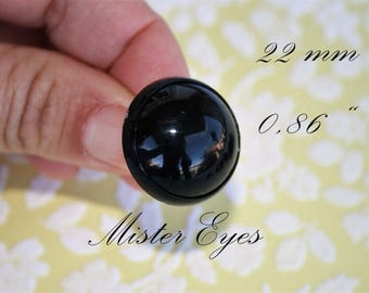 Black safety eyes  22 mm 1 pair for plush animal amigurumi bear cat dog plastic eyes