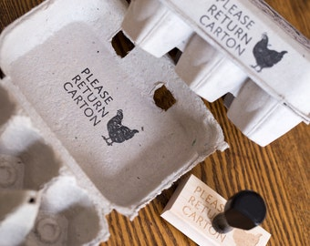 Please Return Carton Stamp - Chicken Egg Carton Stamp - Customizable