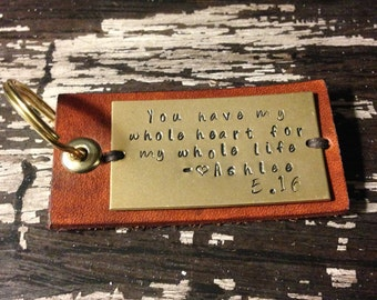 Leather Keychain Personalized, Leather Key Fob, Hand-stamped Key Ring, Gift Under 25, Favorite Quote Keychain, Gift for her, Gift for him