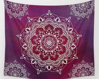 Mandala Tapestry, Red Wall Hanging, Zen Decor, Boho Medallion, Hippie Tapestry, Bohemian Decor, Mandala Art, Purple Tapestry, Lotus Flower