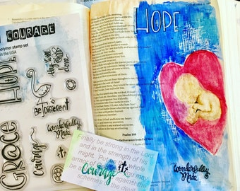 Beautiful Clear Bible Journaling, Card Making or Scrapbooking Stamp Set Grace and Hope