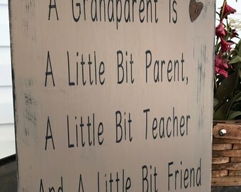 Distressed Wooden Grandparents Sign