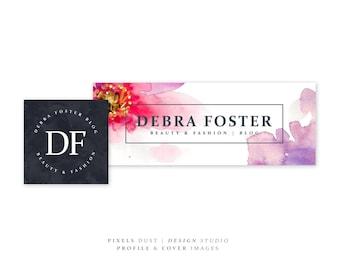 Premade Cover Profile Picture, Branding Set, Floral, Watercolor Flower, Custom Cover, Banner, Avatar, Social Media Cover, Modern Design