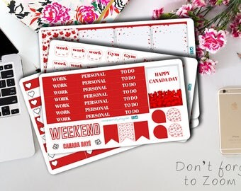 Canada Day planner stickers weekly kit