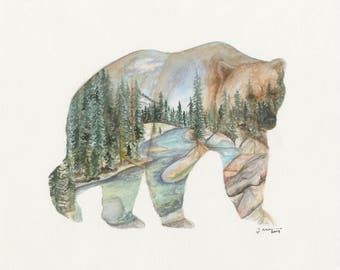 Yosemite River Bear Print