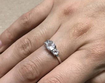 Size 8.25, vintage Sterling silver engagement ring, solid 925 silver with crystal, stamped 925