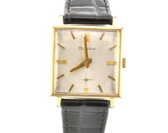 Men's Bulova Gold Vintage Watch Square Face Leather Band: Working, Good Condition. Mens Fashion, Vintage Bulova