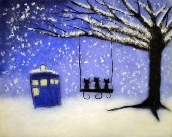 Doctor Who, Doctor Who Art, Doctor Who Painting, Tardis, Doctor Who Tardis, Doctor Who Wall Art, Doctor Who Gift, Doctor Who Decor, Winter