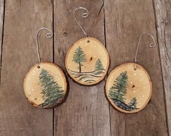 Wood Slice Ornaments-Wood Slice Art-Hand Painted Ornaments-Christmas Tree Ornaments-Rustic Christmas Ornaments-Wood Ornament-Wood Slices