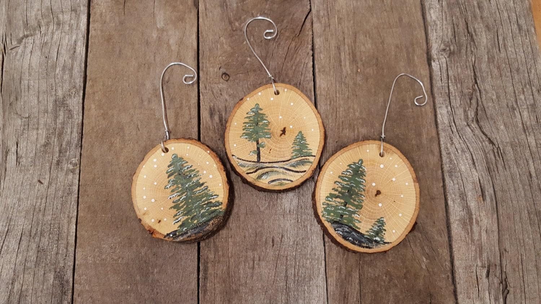 Wood Slice Ornaments Wood Slice Art Hand Painted