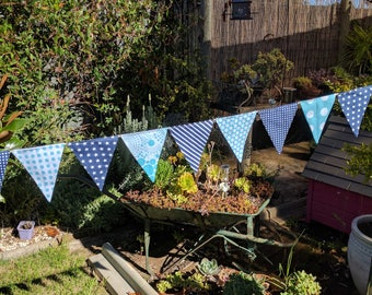 Navy and Aqua - bunting, garland flags or banner for child's bedroom, garden, birthday festive any occasion