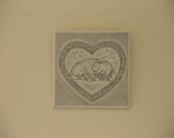 Wallart tile with sleeping bunny and bear